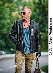 brutal biker man - Handsome brutal man in leather jacket...