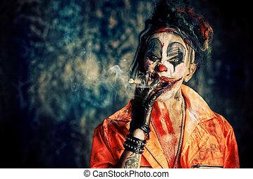 fumar, punk, palhaço