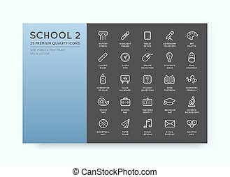 Set of Vector School Icons Illustration can be used as Logo or Icon in premium quality