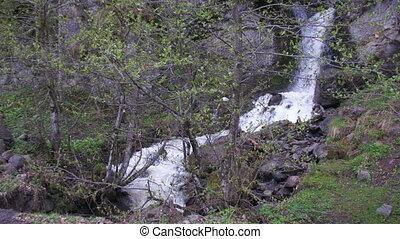 Wild Waterfall in the Mountains of Georgia - Wild Waterfall...