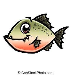 Cartoon Piranha - Vector illustration of a funny piranha for...