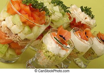 vegetable and salmon verrine