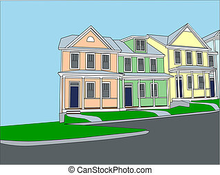 pastel terraced townhouses - Illustration of pastel row...