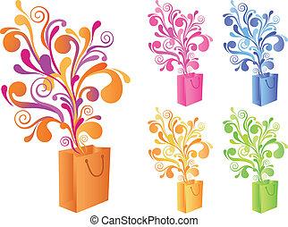 magic shopping bag, vector