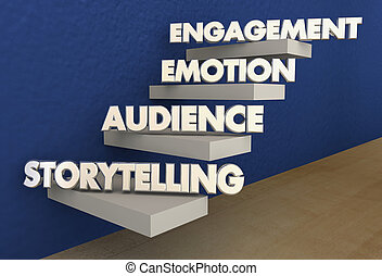 Storytelling Steps Audience Emotion Engagement Stairs 3d...