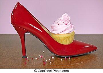 alto, vermelho, sapato, calcanhar, cupcake