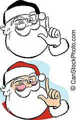 Santa Claus Winking - A portrait of Santa Claus winking and...