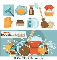 Housework tools vector icons of home washing, mopping and...