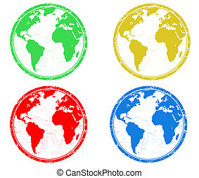 earth globes stamps