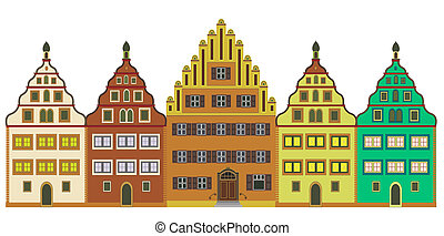 Old town, isolated over white