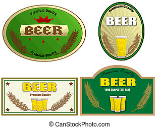 Beer labels design. Vector illustration on white background