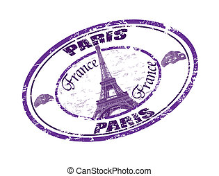 Paris stamp - Grunge rubber stamp with the Eiffel Tower...