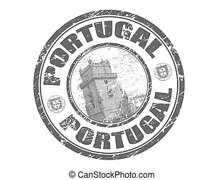 Portugal stamp - Abstract grunge rubber stamp with tower of...