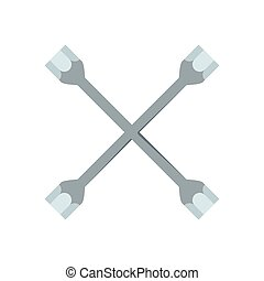 Socket wrench icon, flat style - Socket wrench icon. Flat...