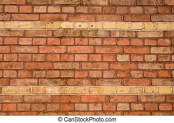 Old red brick wall with two rows
