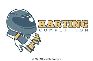 Karting club or kart races sport competition vector racer...