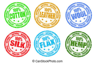 Set of stamps - Natural products sale stamps vector set...