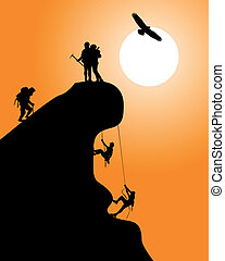 Silhouette of a rock with climbers on an orange background