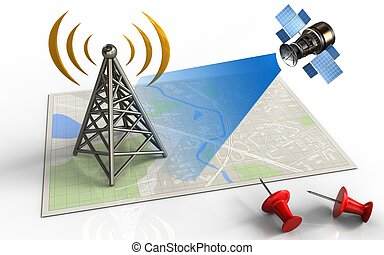 3d antenna - 3d illustration of bright map with antenna and...