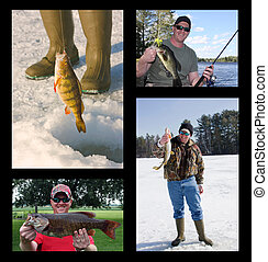 fishing collage with fisherman catching and holding...
