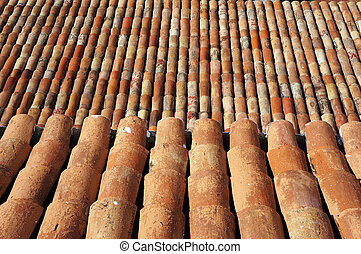 Tiled roof. Architectural background. - Tiled roof....