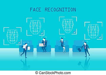 people with face recognition - business people with face...