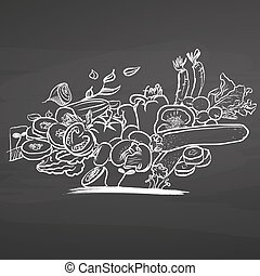 Bunch of vegetables on chalkboard. Hand drawn healthy food...
