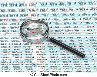 Magnifying glass on a spreadsheet - 3D rendering of...
