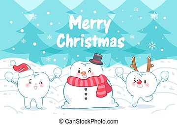 tooth with merry christmas on the blue background
