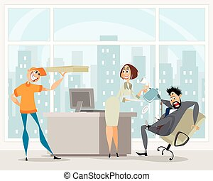 Funny situation in the office - Vector illustration of funny...
