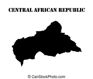 map Central African Republic - Black silhouette of a card...