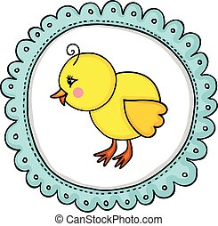 Little chick label classic round sticker - Scalable...