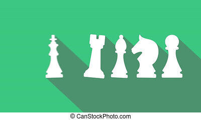 Chess infographic animation. pawn, knight, bishop, castle,...