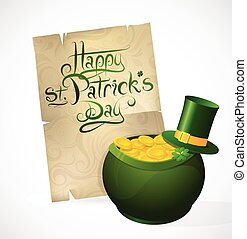 Saint Patricks Day greeting card with traditional elements