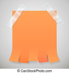 Blank orange advertisement with tear off tabs and adhesive...