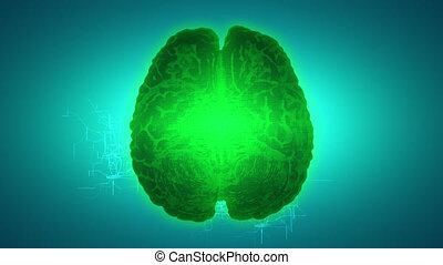 Glowing green brain wired on neural surface or electronic...