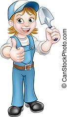 Cartoon Woman Gardener Mascot - A cartoon gardener holding a...