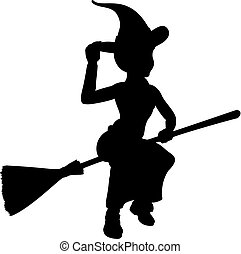 Halloween Witch Flying On Broomstick Silhouette - Witch...