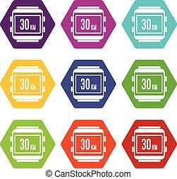 Speedometer bike icon set color hexahedron - Speedometer...