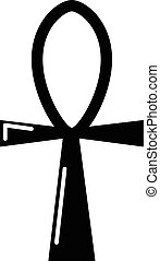 Ancient egyptian cross ankh icon , simple style - Ancient...