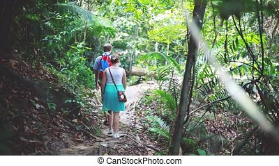 Hikers exploring forest river couple trekking enjoying...