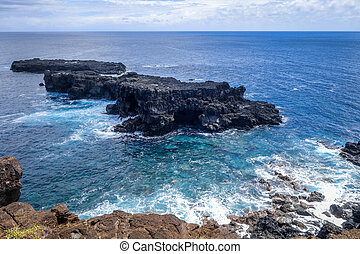 Pacific ocean landscape vue from cliffs in Easter island,...