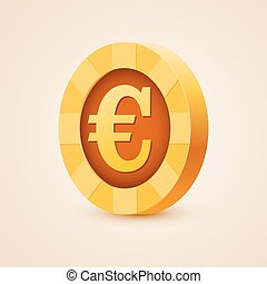 Gold coin of euro isolated on bright background - Isolated...