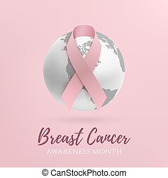 cancer awareness month design. Background with pink ribbon...