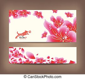 Spring sale banner design with sakura blossom. Chinese new year 2018 (hieroglyph Dog)