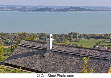 Landscape from lake Balaton in Hungary with typical house
