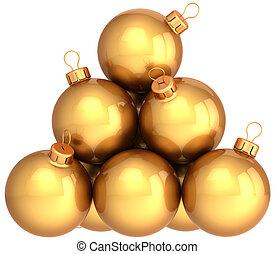Golden Christmas balls (Hi-Res)