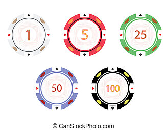 Gambling chips, vector illustration. EPS 8 .