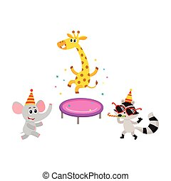 vector flat animals party set isolated - vector flat cartoon...