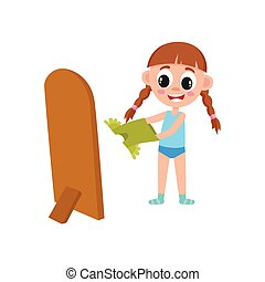 vector flat girl dressing in front of the mirror